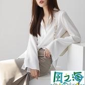 雪紡上衣雪紡襯衫女長袖春裝寬鬆韓版設計感上衣喇叭袖白襯衣 【風之海】