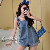 克妹Ke-Mei【AT68355】法式Lady少女感娃娃寬鬆闊腿牛仔吊帶褲