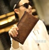 新品錢包皮夾男長版錢夾拉鍊 新品手包大容量 復古手拿包多卡位男