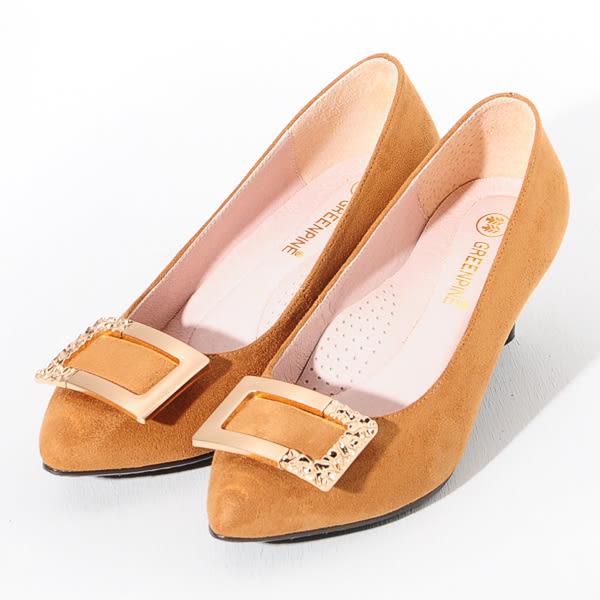 ★新品上市★GREEN PINE 方釦絨面尖頭高跟鞋  -棕色