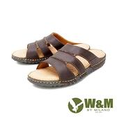 【南紡購物中心】W&M(男)皮質寬帶拖鞋 男鞋 - 咖(另有黑)