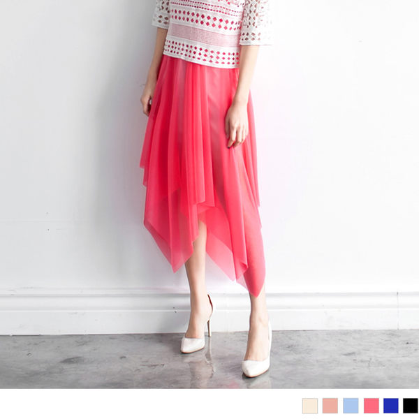 《DA1099》不規則剪裁亮面感雪紡二穿式洋裝/長裙‧6色 OrangeBear