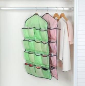 預購-SAFEBET 時尚斜紋居家衣物襪子內衣收納袋 多功能十六格收納掛袋