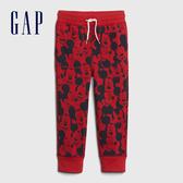 Gap男幼童 Gap x Disney 迪士尼系列童趣刷毛鬆緊休閒褲 618345-紅色