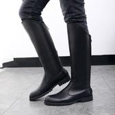 馬靴男過膝高筒靴牛仔靴高筒靴男士皮靴子英倫長筒馬丁靴冬季加絨  ATF  poly girl
