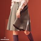 【SHOWCASE】學院風前排釦造型格紋圓襬及膝裙(咖)