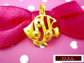 9999純金 黃金 墜飾 金錢魚 (年年有錢, 錢滾錢)  墜子 送精緻皮繩項鍊