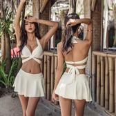 泡溫泉游泳衣女比基尼性感小胸聚攏鋼托W高腰顯瘦遮肚分體韓國 【PINKQ】