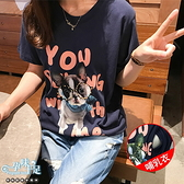 可愛狗狗英文字母孕婦哺乳【側掀式】上衣 藍【CUH854803】孕味十足 孕婦裝