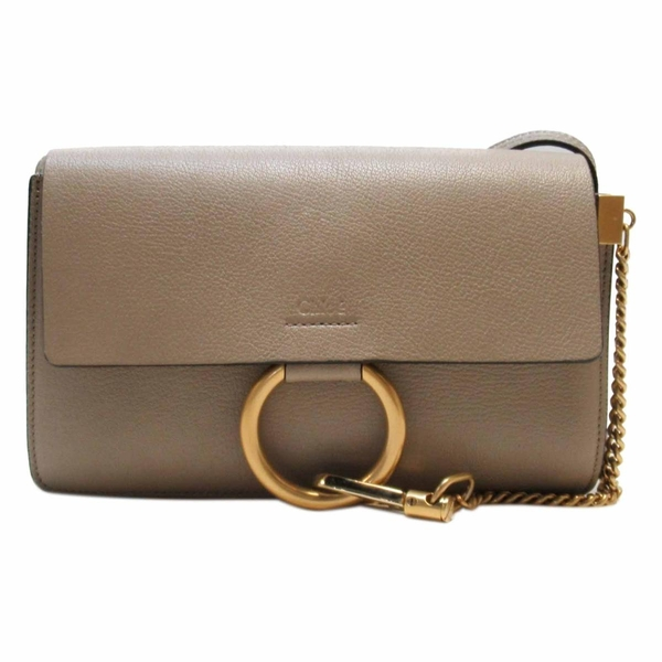 Chloe 克羅伊 淺灰色小牛皮拼接麂皮肩背包 Faye Small Shoulder Bag【BRAND OFF】