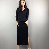 連衣裙歐洲站秋季新款V領長袖開叉擊帶包臀裙中長款顯瘦針織洋裝『快速出貨』