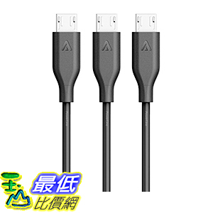 [106美國直購] Anker[3-Pack]PowerLine Micro USB(3ft)-Charging Cable(Black) 充電線 傳輸線