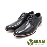 W M 男光感牛皮革精緻流線型木根底皮鞋男鞋黑