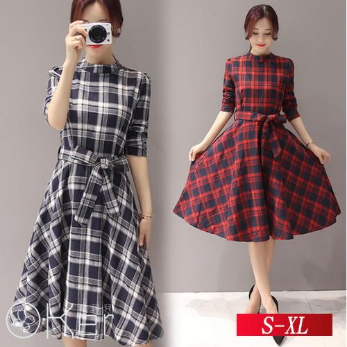 中大尺碼 格紋修身顯瘦中長款連衣裙 S-XL O-Ker 歐珂兒 LLB5824-C