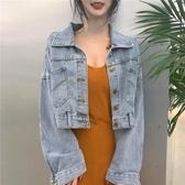 韓風Chic氣質V領修身吊帶連衣裙女bf風寬鬆長袖牛仔短外套