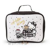 〔小禮堂〕Hello Kitty 尼龍方形旅行衣物收納袋《M.黑白》鞋袋.盥洗袋.熊熊探險系列 4901610-81422