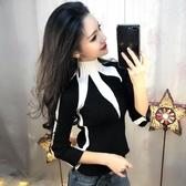 秋裝女2019新款正韓氣質撞色半高領針織衫修身顯瘦套頭打底衫上衣