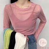 買二送一 冰絲打底衫女長袖網紗防曬t恤內搭純色上衣薄款【大碼百分百】