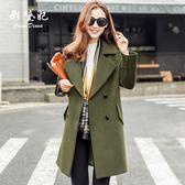毛呢外套  新款韓版顯瘦毛呢外套修身大碼中長款呢子大衣