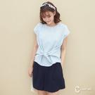百貨專櫃女裝 棉麻雙色織紋 前綁帶設計 夏日度假風格