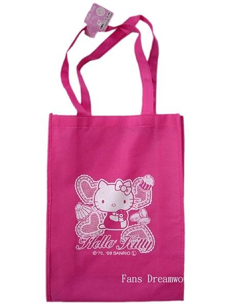 【卡漫城】 Hello Kitty 側背包 桃紅甜點 ㊣版 購物袋 萬用袋 環保袋 文具袋 不織布 肩背包 手提袋