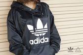 ISNEAKERS adidas Originals 艾迪達 基本款 大Logo 連帽T桖 帽t 緞面 深藍 秋冬 BP9406