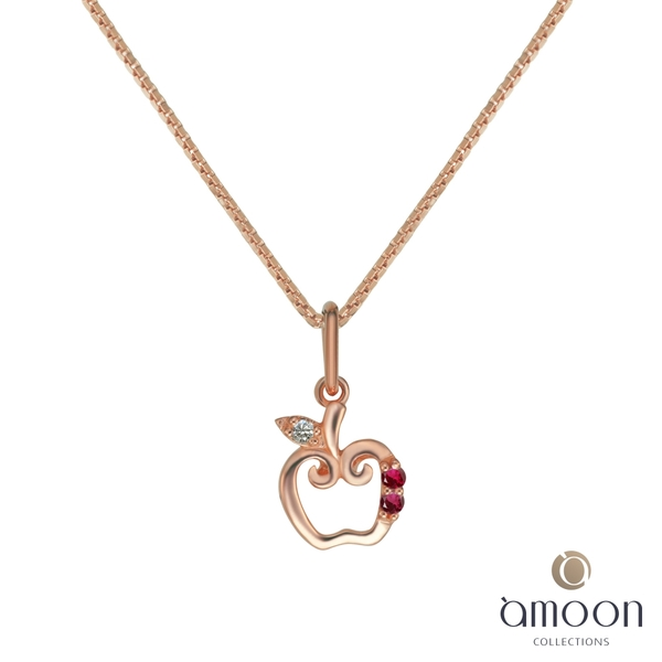 amoon 璀璨星空系列 小蘋果 K金鑽石墜子 送項鍊