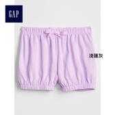 Gap女嬰幼童 舒適純棉條紋燈籠短褲 259163-淺蓮灰
