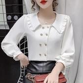 現貨寄出 秋冬新款甜美娃娃領襯衫女設計感小眾百搭長袖開衫上衣打底衫
