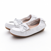 MICHELLE PARK 超輕軟舒適小蝴蝶結手工流蘇層次感莫卡辛休閒豆豆平底鞋-白色