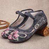 老人美時尚民族風繡花鞋春夏透氣軟底防滑中老年媽媽老北京布鞋女