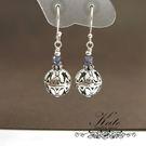 銀飾純銀耳環 天然堇青石 古典蝴蝶 雕花銀珠 925純銀寶石耳環 KATE銀飾