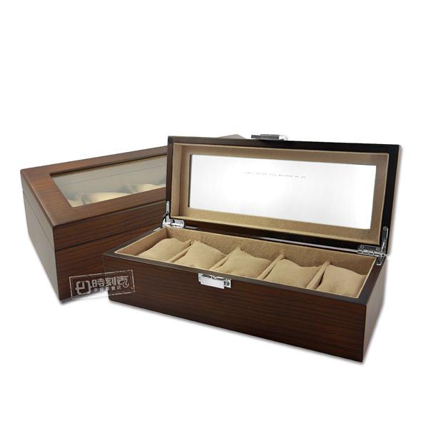 5入手錶收藏盒 配件收納 方型扣鎖 斑馬木紋 腕錶收藏盒 實木質感 - 紅棕色 #815-5W-03-ZEBRA