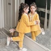 女童睡衣 兒童珊瑚絨睡衣女童冬季加厚款女孩加絨法蘭絨秋冬寶寶家居服套裝【快速出貨】