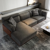 林氏木業簡約沉穩實木框右L三人科技布沙發 S041-深灰色