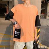 大尺碼T恤男 夏季五分袖t恤男韓版潮流寬鬆百搭七分短袖t?上衣 LJ2578『科炫3C』