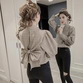 蝴蝶結襯衫2020初春女裝后背蝴蝶結修身格子襯衫女設計感小眾長袖上衣衫春季新品