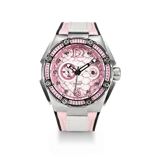 【NSQUARE】SNAKE QUEEN系列施華晶鑽時尚機械橡膠腕錶-少女粉/L0471-N11.12/台灣總代理享兩年保固