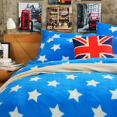 Pure One 超保暖搖粒絨 - 迷戀星-藍 [獨家設計] @ 雙人超厚兩用被套床包組 @台灣製 @SGS檢驗合格