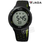JAGA 捷卡 / M1185-AF1 / 電子運動 計時鬧鈴 冷光照明 防水100M 透氣矽膠手錶 黑螢光黃色 43mm