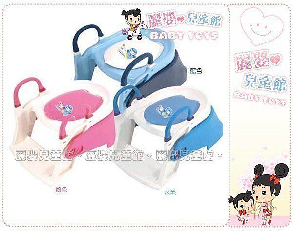 麗嬰兒童玩具館~PUKU藍色企鵝-17402多功能階梯式.訓練兩用便器.1-5歲可用