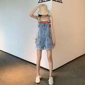 牛仔吊帶褲子短褲女韓版寬鬆兩件套闊腿褲【小酒窩服飾】