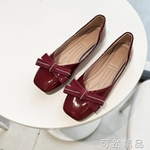 春平底方头单鞋女浅口软底舒适奶奶鞋欧美风漆皮豆豆鞋平跟小红鞋 可然精品