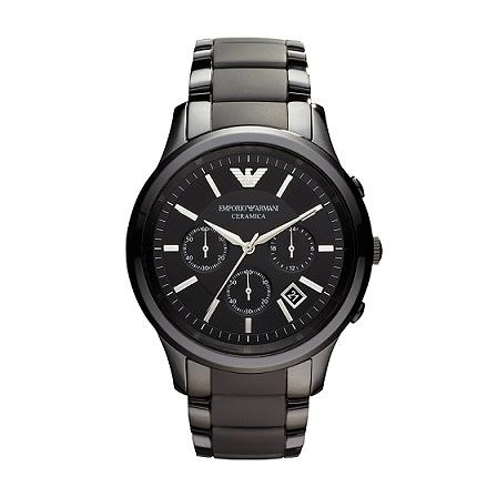 EMPORIO ARMANI亞曼尼經典時尚陶瓷計時碼錶-AR1452-黑陶