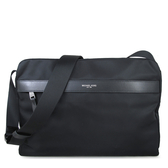 MICHAEL KORS 大款 輕量尼龍皮飾邊斜背包 電腦包 書包(黑色)-37H6LKNM3C
