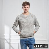 【JEEP】普普迷彩刷毛口袋長袖TEE (灰)