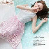 洋裝 露比設計‧蕾絲立體櫻花無袖洋裝-粉紅色-Ruby s露比午茶