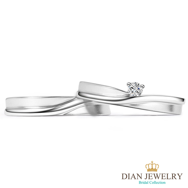 【DIAN 黛恩珠寶】獨一無二 鑽石結婚對戒(情人鑽石對戒 系列)