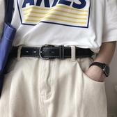 韓國流行新款皮帶chic一整條孔免打孔的PU皮耐用腰帶女復古簡約潮