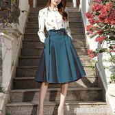 春夏半身裙中長款花苞腰過膝百褶裙高腰傘裙繫帶蓬蓬裙顯瘦 卡布奇諾